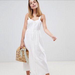 NWT ASOS White Linen Button Through Maxi Dress